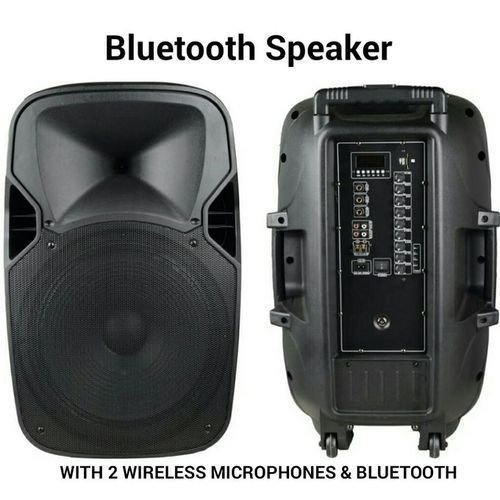 Big Rechargeable Public Address System Speaker With Built-in Amplifier, Bluetooth, 2 Wireless Microphones, Radio And USB - P. A System