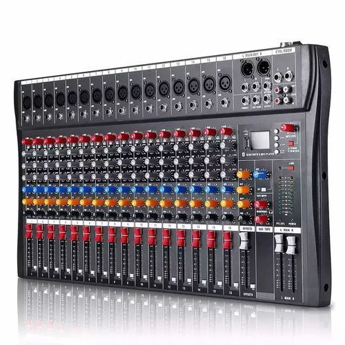 Professional 16 Channels Bluetooth Audio Mixer With USB plug and play function.Headphones: TRS, Tip L, Ring R, Recommended 30 to 600 ohm headphones Fits bluetooth function - USB plug and play - Lightweight and portable - Each mono with 3-band equalization - 6 kinds of music modes