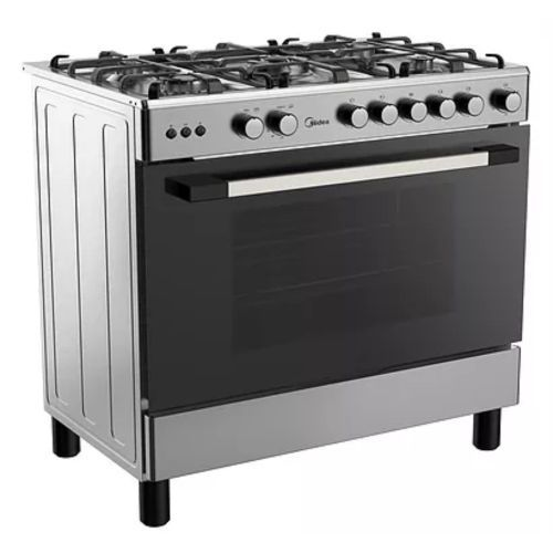Gas oven + Gas grill Auto-ignition Mechanical Timer 2 Layer Glass Door Glass Lid 1 tray + 1 grid Rotisserie Pool burner Welded Enamel Grate LPG Outlet Adjustable Legs Stainless Steel Front Silver Side Plated